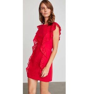 BCBGMaxazria Ruffled Lace Sheath Red Dress BNWOT